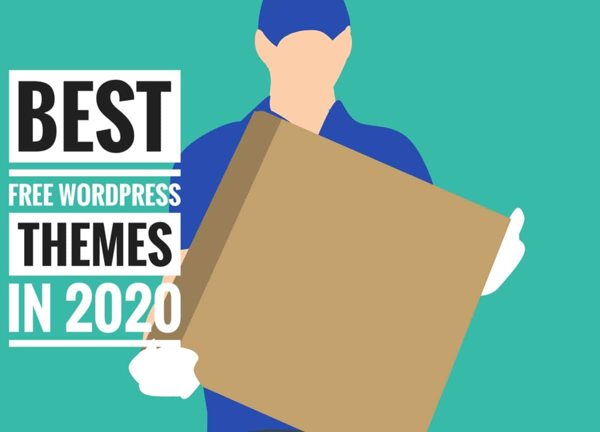 A man carrying a box which contains the best free WordPress THEMES in 2020